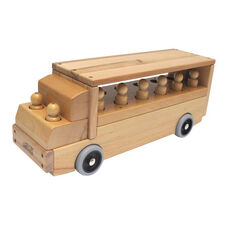 Solid Wood Transport Vehicle - 12 Passenger Single-Decker Bus with Two Solid Wood Drivers