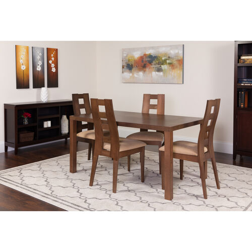 Our Fullerton 5 Piece Walnut Wood Dining Table Set with Window Pane Back Wood Dining Chairs - Padded Seats is on sale now.
