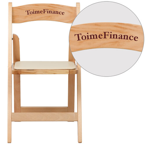 Our Personalized HERCULES Series Natural Wood Folding Chair with Vinyl Padded Seat is on sale now.