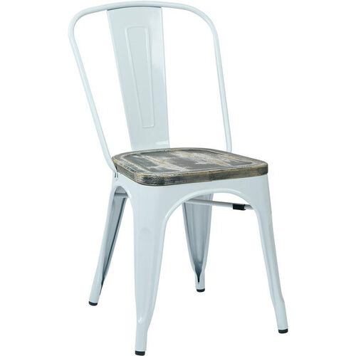 Our OSP Designs Bristow Metal Chair with Wood Seat - 4-Pack - White and Vintage Ash Crazy Horse is on sale now.