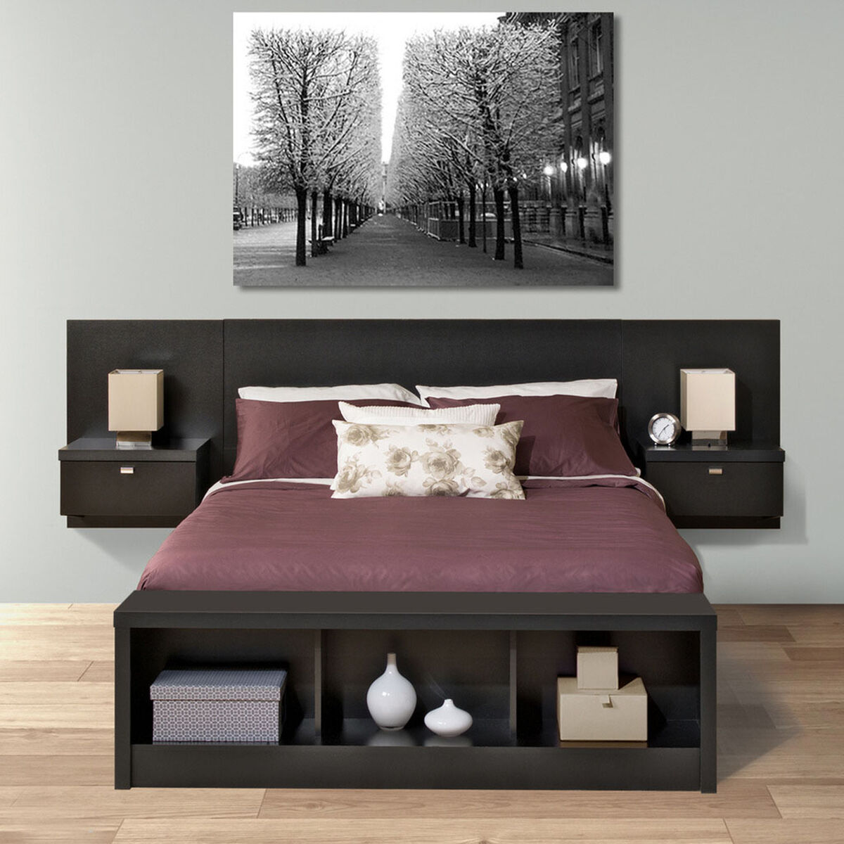 Our series 9 designer floating queen size headboard with attached nightstands black is on sale