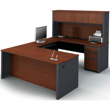 Prestige + U-Shaped and Hutch Assembly with Keyboard Shelf and CPU Platform - Bordeaux and Graphite