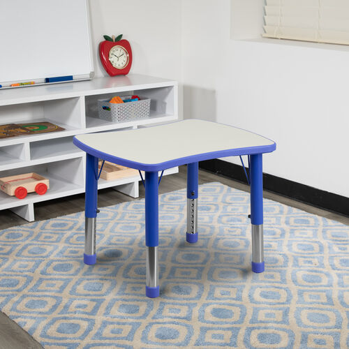 "21.875""W x 26.625""L Rectangular Plastic Height Adjustable Activity Table"