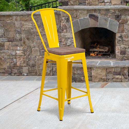 """Our 24"""" High Yellow Metal Counter Height Stool with Back and Wood Seat is on sale now."""