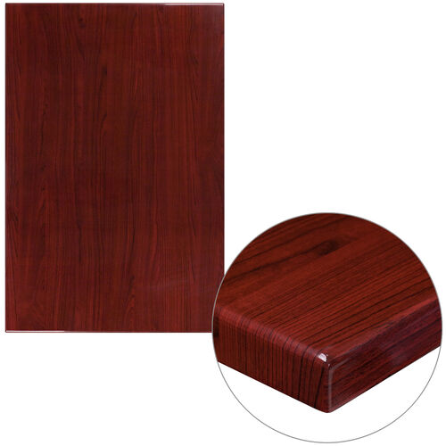 "Our 30"" x 45"" Rectangular High-Gloss Mahogany Resin Table Top with 2"" Thick Edge is on sale now."