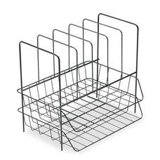 Fellowes® Wire Double Tray w/File Sorter - 7 Sect - Steel - 13 3/4 x 10 1/8 x 12 1/2 - Black