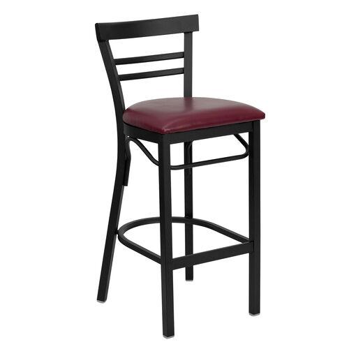 Our HERCULES Series Black Two-Slat Ladder Back Metal Restaurant Barstool - Burgundy Vinyl Seat is on sale now.