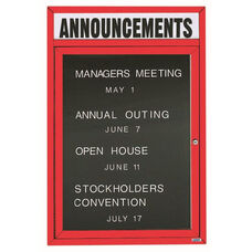 1 Door Indoor Illuminated Enclosed Directory Board with Header and Red Anodized Aluminum Frame - 36