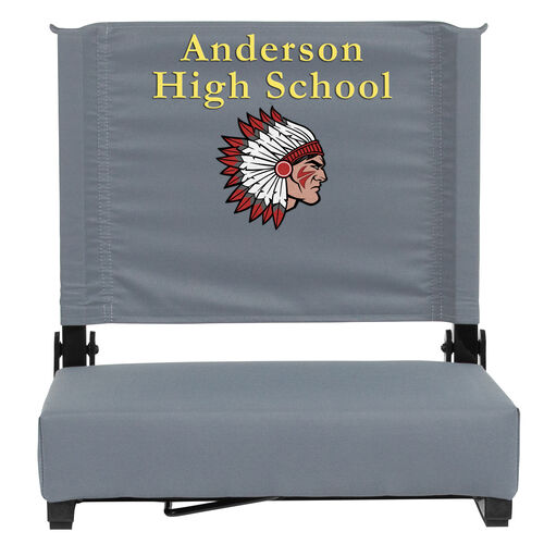 Our Embroidered Grandstand Comfort Seats by Flash with Ultra-Padded Seat in Gray is on sale now.