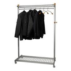 ALBA'S Metal Reception Mobile Garment Rack with Base and Top Shelves - Chrome