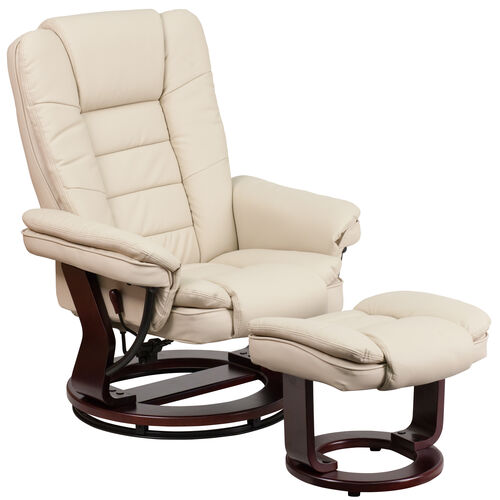 Our Contemporary Multi-Position Recliner with Horizontal Stitching and Ottoman with Swivel Mahogany Wood Base in Beige Leather is on sale now.