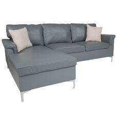 Boylston Upholstered Plush Pillow Back Sectional with Left Side Facing Chaise in Gray LeatherSoft