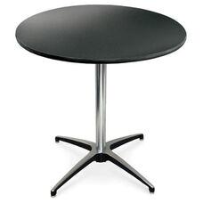 36'' Diameter Round Laminate Pedestal Table with Aluminum X-Base - 42''H