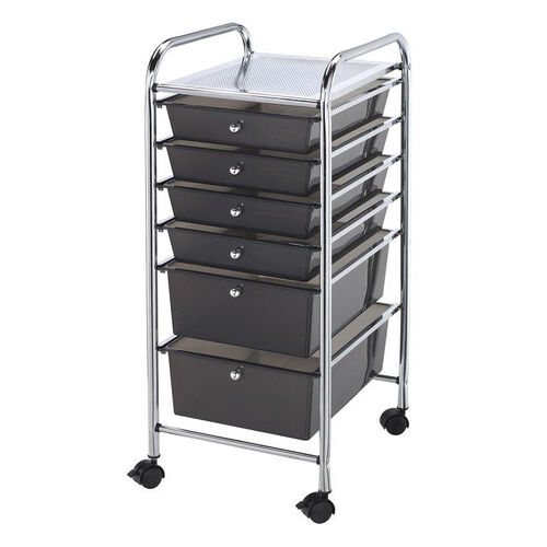 Our 6 Drawer Chrome Frame Storage Cart - Smoke is on sale now.