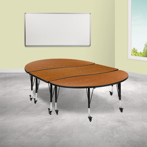 """3 Piece Mobile 86"""" Oval Wave Collaborative Oak Thermal Laminate Activity Table Set - Height Adjustable Short Legs"""