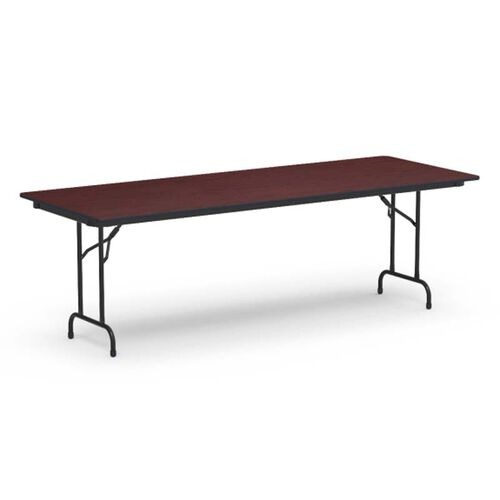 Our 6000 Series Traditional Rectangular Folding Table with Walnut Top and Black Frame - 30