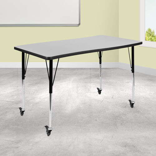 """Mobile 28""""W x 47.5""""L Rectangular Wave Collaborative Grey Thermal Laminate Activity Table - Standard Height Adjustable Legs"""