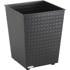 6 Gallon Checks Wastebaskets - Set of Three - Black
