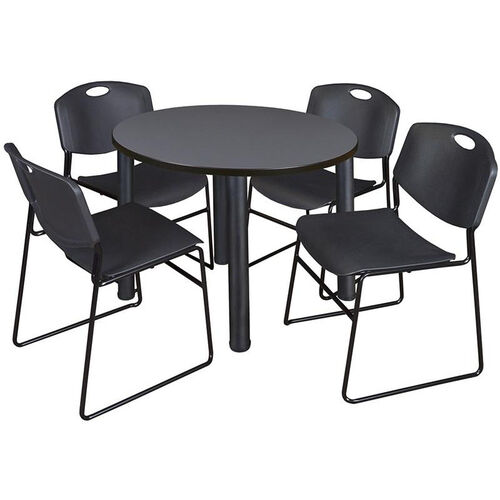 Our Kee Round Laminate Breakroom Table with 4 Zeng Stack Chairs - Black Legs and Black Chairs is on sale now.