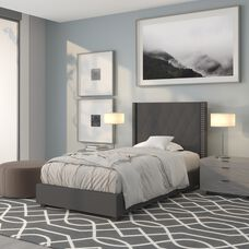 Riverdale Twin Size Tufted Upholstered Platform Bed in Dark Gray Fabric