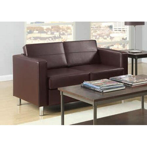 Our Ave Six Pacific Faux Leather Loveseat with Chrome Finish Legs - Espresso is on sale now.