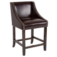 "Carmel Series 24"" High Transitional Walnut Counter Height Stool with Accent Nail Trim in Brown LeatherSoft"