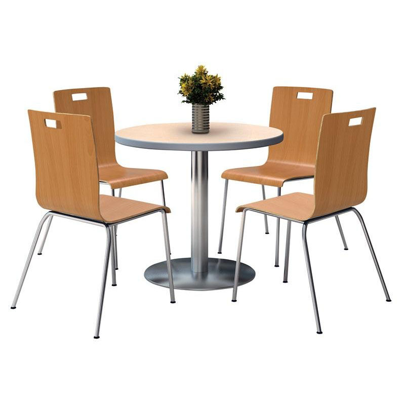 ... Our 36u0027u0027 Round Natural Laminate Table Set With Natural Finish Bentwood  Cafe Chairs