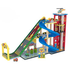 Kids Wooden Mega Ramp Car Racing and Parking Garage Play Set Includes 6 Pieces