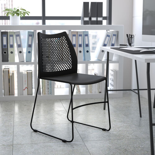 HERCULES Series 661 lb. Capacity Navy Stack Chair with Air-Vent Back and Gray Powder Coated Sled Base