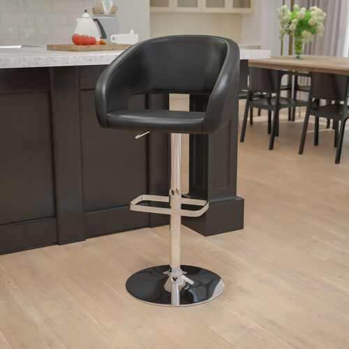 Contemporary Vinyl Adjustable Height Barstool with Rounded Mid-Back