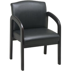Work Smart Thick Padded Faux Leather Visitors Chair with Lumbar Support - Espresso