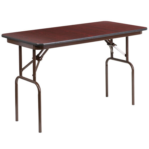 Our 4-Foot Mahogany Melamine Laminate Folding Banquet Table is on sale now.