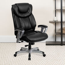HERCULES Series Big & Tall 400 lb. Rated Black LeatherSoft Executive Ergonomic Office Chair with Silver Adjustable Arms