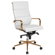 High Back White LeatherSoft Executive Swivel Office Chair with Gold Frame, Synchro-Tilt Mechanism and Arms