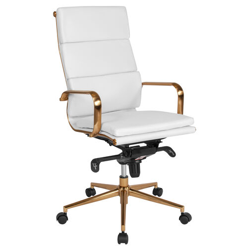 Our High Back White LeatherSoft Executive Swivel Office Chair with Gold Frame, Synchro-Tilt Mechanism and Arms is on sale now.
