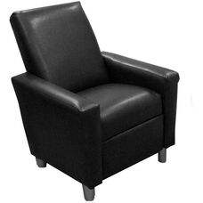Kids Modern Faux Leather Recliner - Black