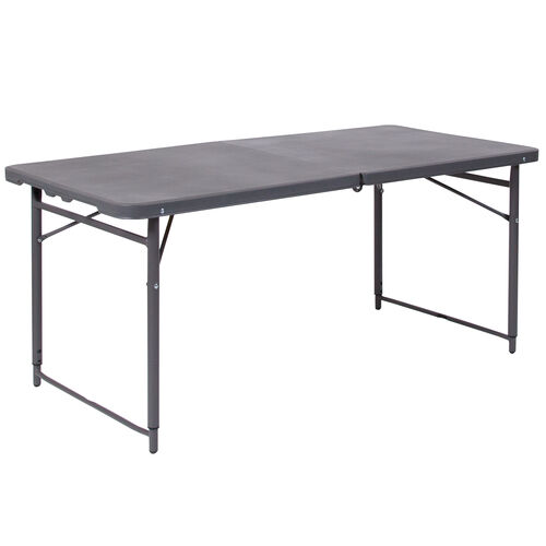 Our 4-Foot Height Adjustable Bi-Fold Dark Gray Plastic Folding Table with Carrying Handle is on sale now.