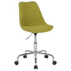 Aurora Series Mid-Back Green Fabric Task Office Chair with Pneumatic Lift and Chrome Base