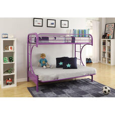 Eclipse Twin Over Full Futon C - Style Metal Bunk Bed - with Built In Side Ladder - Purple