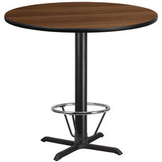 42'' Round Walnut Laminate Table Top with 33'' x 33'' Bar Height Table Base and Foot Ring