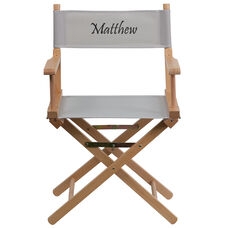 Embroidered Standard Height Directors Chair in Gray