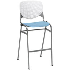 2300 KOOL Series Stacking Poly Armless Barstool with White Perforated Back and Sky Blue Seat