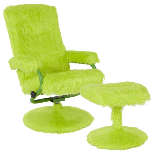 Our East Side Contemporary Multi-Position Recliner and Ottoman in Citrus Green Fur is on sale now.