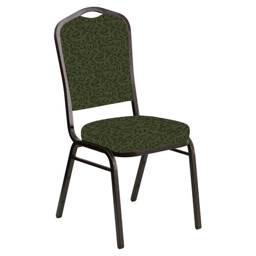Embroidered Crown Back Banquet Chair in Jasmine Fern Fabric - Gold Vein Frame