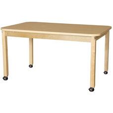 Mobile Rectangular High Pressure Laminate Table with Hardwood Legs - 60