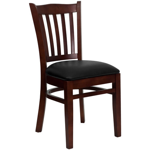 Our Mahogany Finished Vertical Slat Back Wooden Restaurant Chair with Black Vinyl Seat is on sale now.