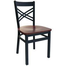 Akrin Metal Cross Back Chair - Black Wood Seat