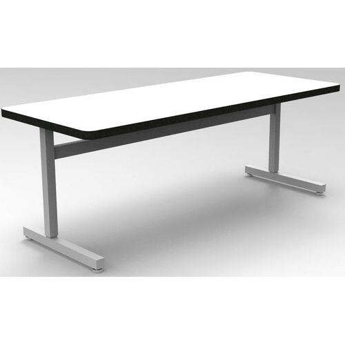 Our Une-T Rectangular Adjustable Height Desk with Beveled Lotz Armor Edge Top - 60