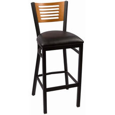 Jones River Series Wood Back Armless Barstool with Steel Frame and Vinyl Seat - Cherry