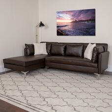 Back Bay Upholstered Accent Pillow Back Sectional with Left Side Facing Chaise in Brown LeatherSoft